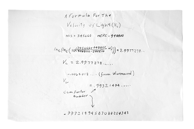 A Formula For The Velocity Of Light c. 2010