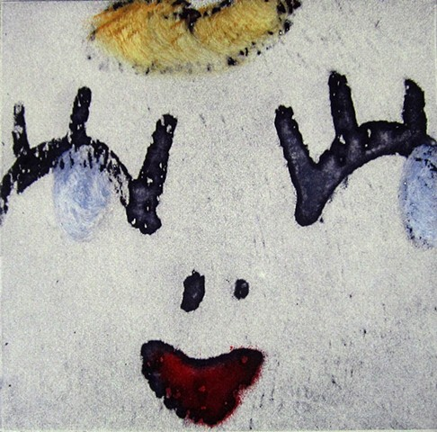 Solar plate etching prints of the faces of dolls and other toys by artist  Alison Overton