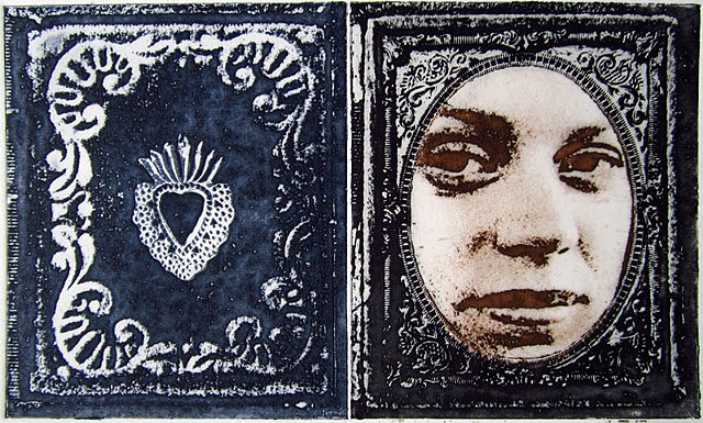 Etching of contemporary portrait photograph styled as an antique tintype in frame by artist Alison Overton
