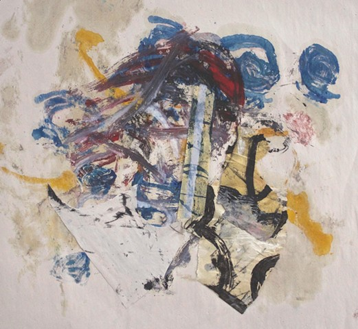 abstract contemplative drawing painting,oil and paper