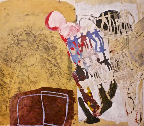 abstract contemplative figurative drawing painting collage