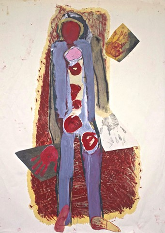 abstract contemplative figurative drawing painting, collage