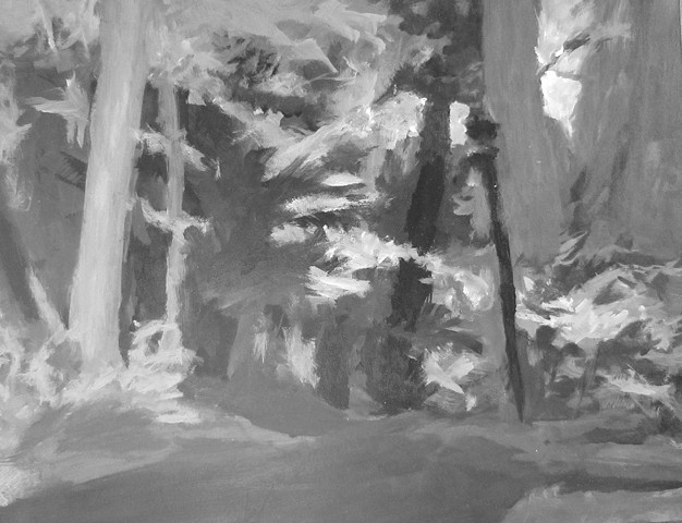Landscape drawing considering texture, space, atmospheric perspective.