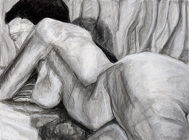 Long figure drawing considering figure ground relationship.