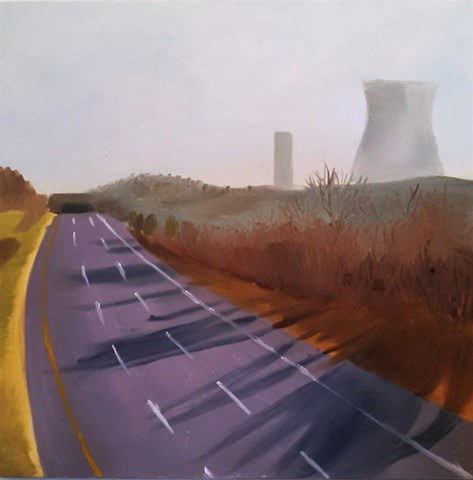 Landscape painting, working with atmospheric perspective.