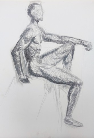 Figure study of musculature and value.