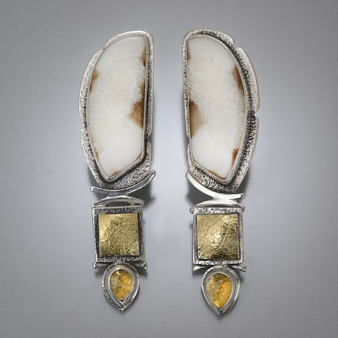 Ivory and Citrine Earring