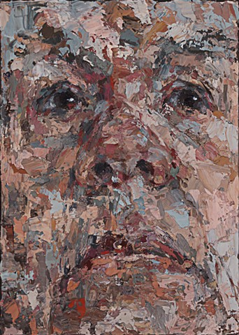 self-portrait, portrait, oil painting, painting, abstraction, figurative, palette knife