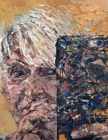 oil painting, portrait, figurative, cell phone, abstraction, tablet, social media, cell phone, Selfies