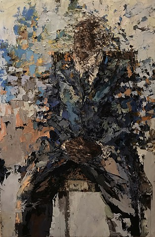 painting, oil painting, figurative painting, palette knife, contemporary, chair