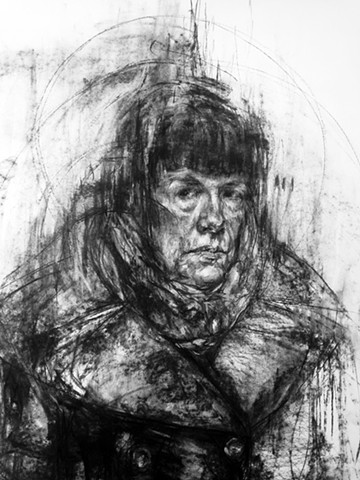 figurative, drawing, charcoal, art, artist, portrait, self-portrait