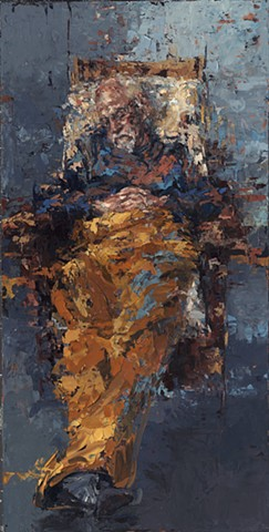 old man, painting, oil painting, man reclining, man sleeping, figurative art