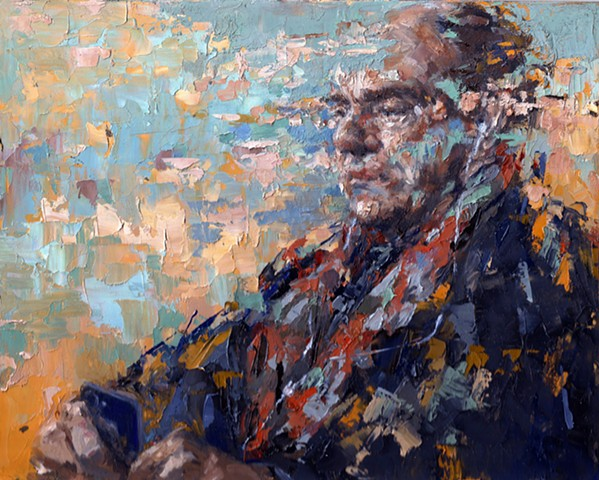 oil painting, portrait, figurative, cell phone, abstraction, earbuds