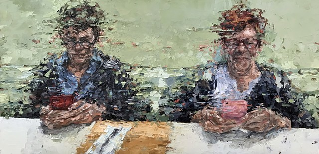 couple, painting, palette knife, figurative art, portrait, portraiture, contemporary art