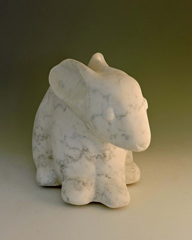 marble, stone, rabbit, garden sculpture Judith Kepner Rose, Striped Rabbit, hare