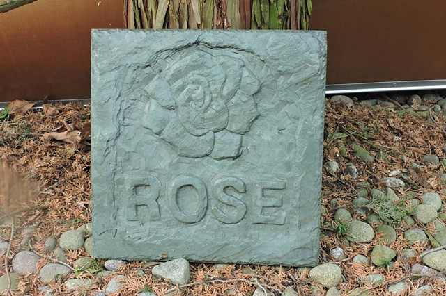 rose, stone carving, slate, Judith Kepner Rose
