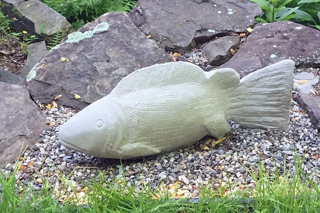limestone, stone carving, fish carving, Judith Kepner Rose, garden sculpture