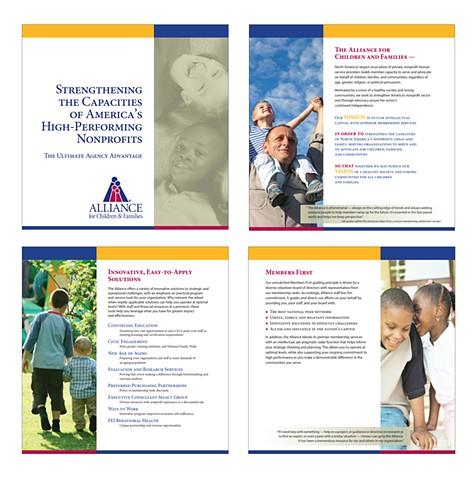 Sample page layouts, Alliance Prestige brochure