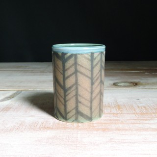 Rose and Teal Herringbone Tumbler