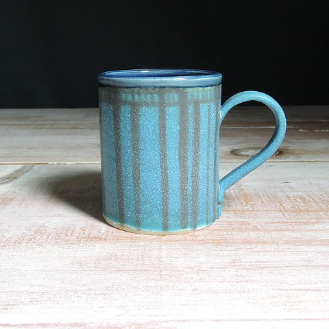 Turquoise and Navy Striped Diner Mug