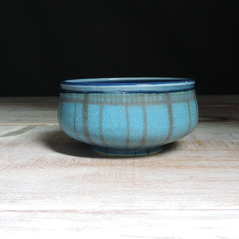 Turquoise and Navy Striped Small Low Bowl