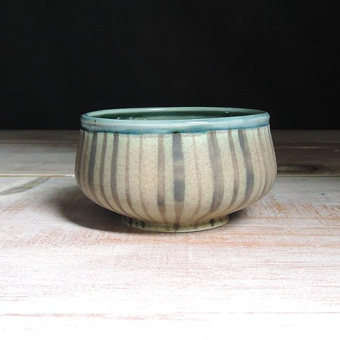 Rose and Teal Thinly Striped Small Low Bowl