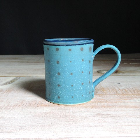 Turquoise and Navy Polka Dot Diner Mug