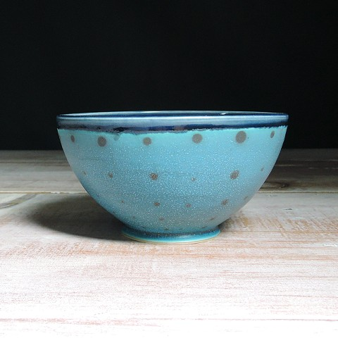 Turquoise and Navy Polka Dot Small Bowl