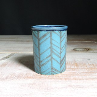 Turquoise and Navy Herringbone Tumbler