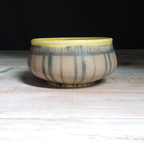 Rose and Amber Striped Small Low Bowl
