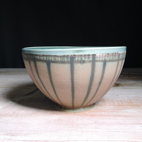 Rose and Teal Striped Serving Bowl