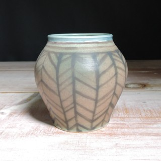 Rose and Teal Herringbone Vase