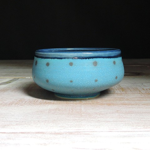 Turquoise and Navy Polka Dot Small Low Bowl