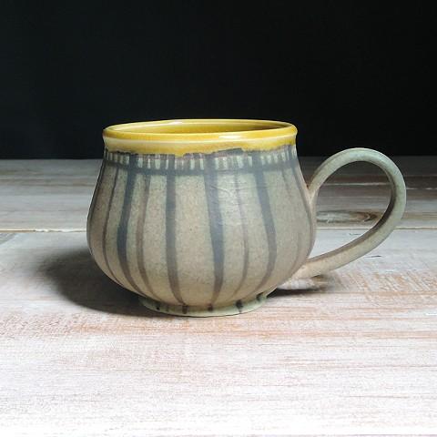 Rose and Amber Striped Bulb Mug