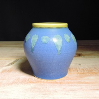 Cobalt and Avocado Abstract Vase