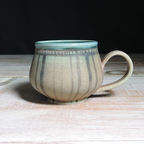 Rose and Teal Striped Bulb Mug