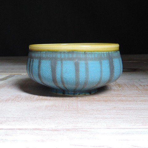 Turquoise and Amber Striped Small Low Bowl