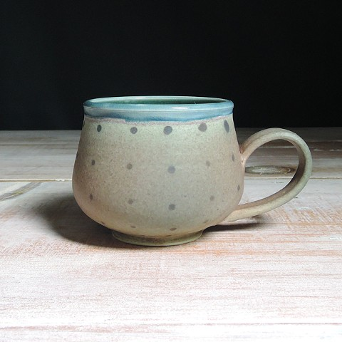 Rose and Teal Polka Dot Bulb Mug