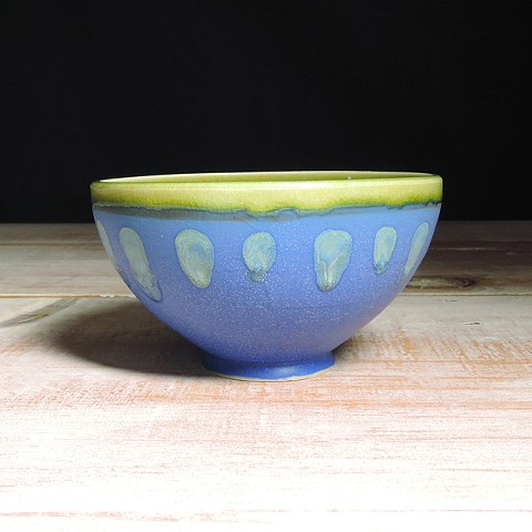 Cobalt and Avocado Abstract Small Bowl
