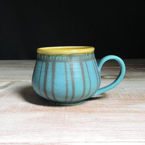 Turquoise and Amber Striped Bulb Mug