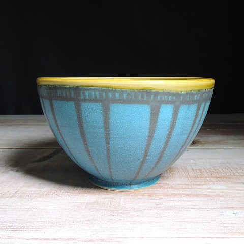 Turquoise and Amber Striped Serving Bowl