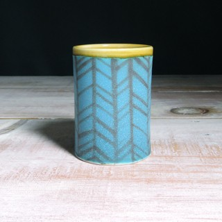 Turquoise and Amber Herringbone Tumbler