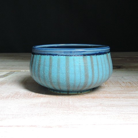 Turquoise and Navy Thinly Striped Small Low Bowl