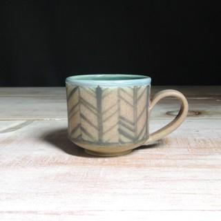 Rose and Teal Herringbone Teacup
