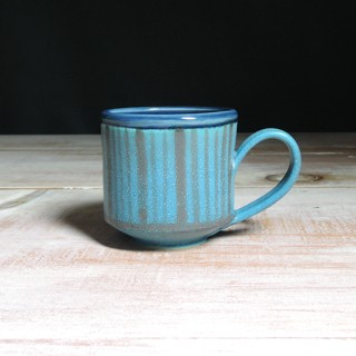 Turquoise and Navy Striped Teacup