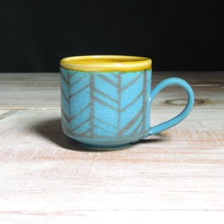 Turquoise and Amber Herringbone Teacup