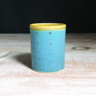 Turquoise and Amber Polka Dot Tumbler