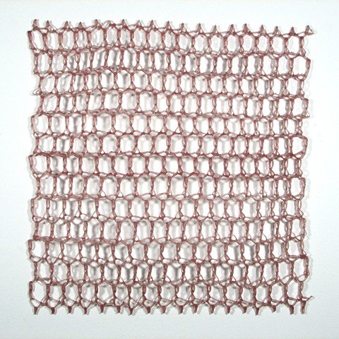 Crocheted fiberglass and polyester resin grid wall sculpture by Yvette Kaiser Smith