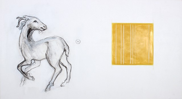 Drawing of deer figurine and beeswax square on panel by Yvette Kaiser Smith