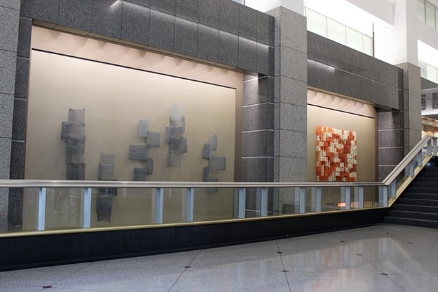 Yvette Kaiser Smith art installation of crocheted fiberglass sculpture at Two Prudential Plaza